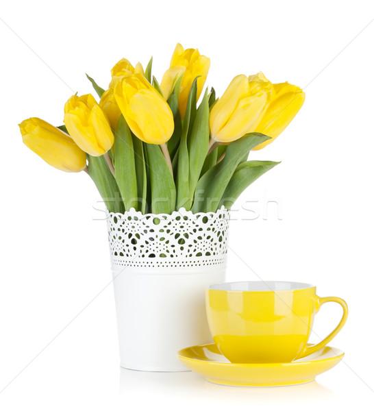 Citromsárga tulipánok teáscsésze izolált fehér húsvét Stock fotó © karandaev