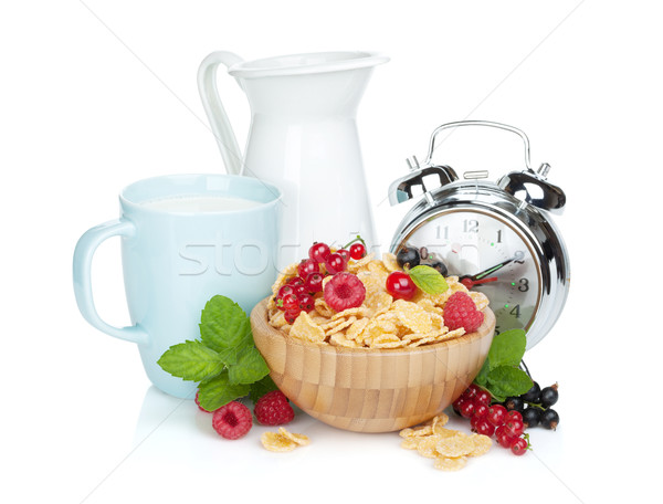 Fresh corn flakes with berries Stock photo © karandaev
