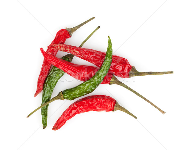 Red and green hot chili peppers Stock photo © karandaev