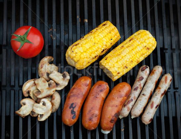 Grill bbq sausages and vegetables Stock photo © karandaev