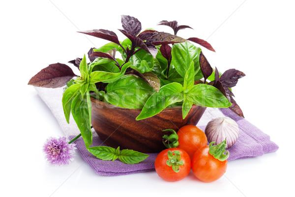Foto stock: Fresco · agricultores · tomates · manjericão · isolado · branco