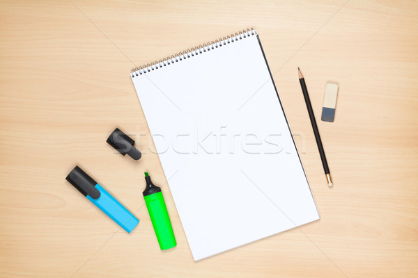 Jegyzettömb ceruza radír fa asztal felülnézet üzlet Stock fotó © karandaev