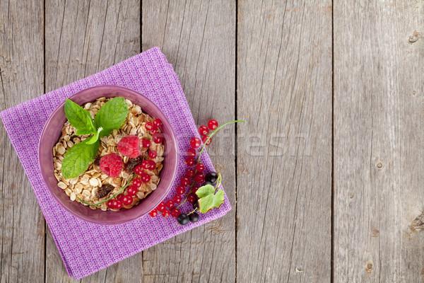Kahvaltı müsli karpuzu ahşap masa bo tablo Stok fotoğraf © karandaev