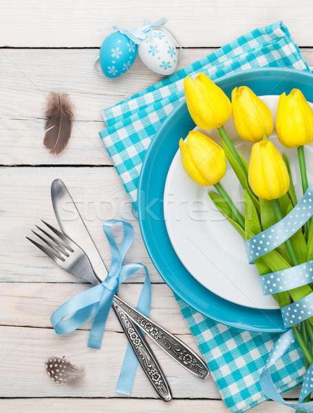 ストックフォト: イースター · 黄色 · チューリップ · カラフル · 卵 · 白