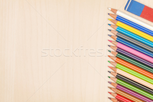 Colorful pencils and eraser Stock photo © karandaev