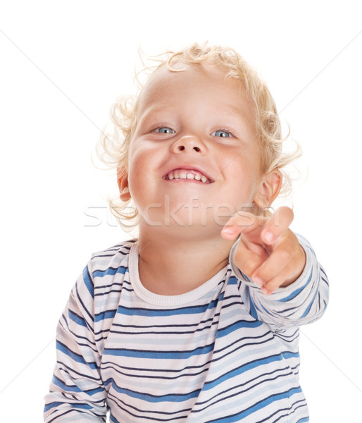 Happy baby shows his finger forward Stock photo © karandaev
