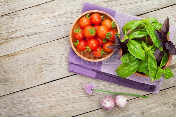 新鮮な 農民 トマト バジル コピースペース ストックフォト © karandaev