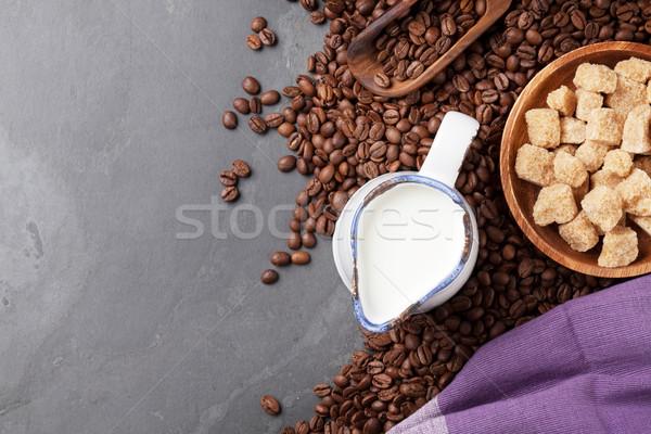 コーヒー豆 ミルク ブラウンシュガー 石 表 先頭 ストックフォト © karandaev