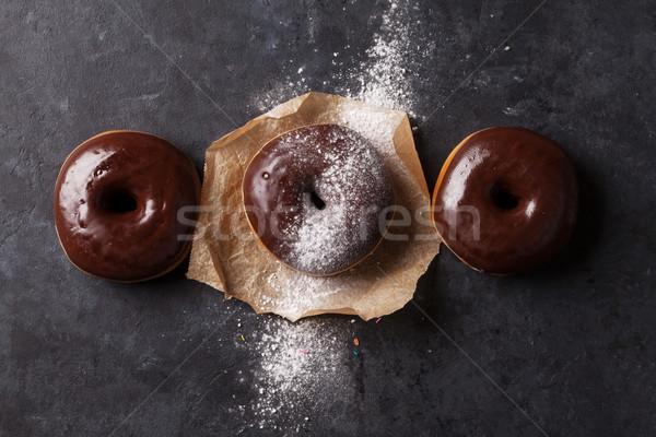 Cioccolato colorato pietra tavola top Foto d'archivio © karandaev