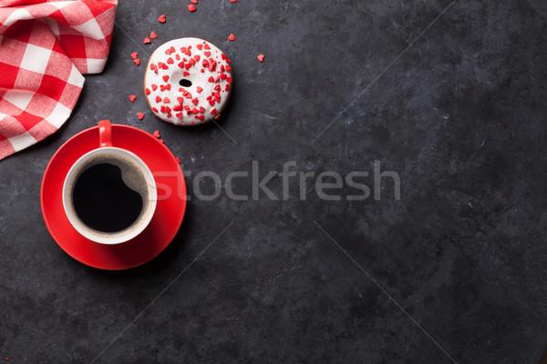 Rosquinha café pedra tabela topo ver Foto stock © karandaev
