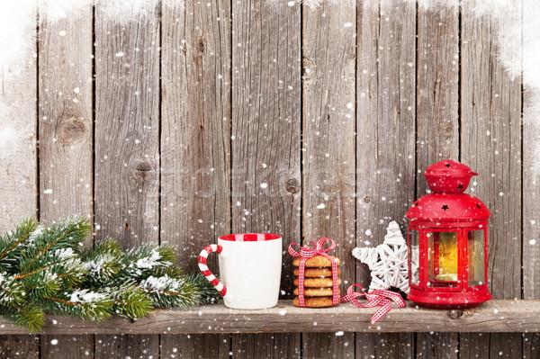 Karácsony gyertya lámpás étel dekoráció fából készült Stock fotó © karandaev