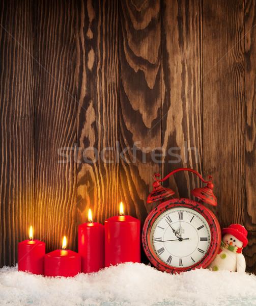 Stok fotoğraf: Noel · mumlar · çalar · saat · kardan · adam · ahşap · duvar