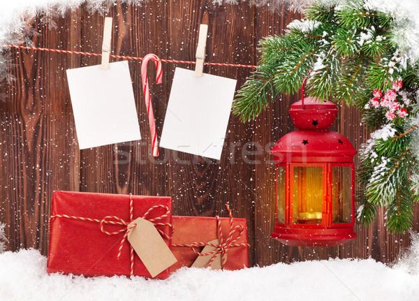 クリスマス キャンドル ランタン 写真 フレーム フォーカス ストックフォト © karandaev