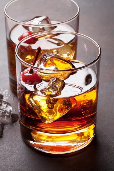Manhattan kokteyl gözlük viski parti cam Stok fotoğraf © karandaev