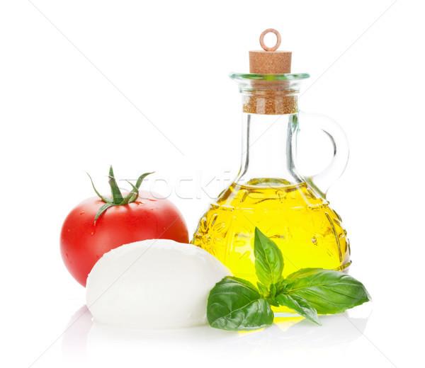 Mozzarella kaas olijfolie tomaat basilicum kruid Stockfoto © karandaev