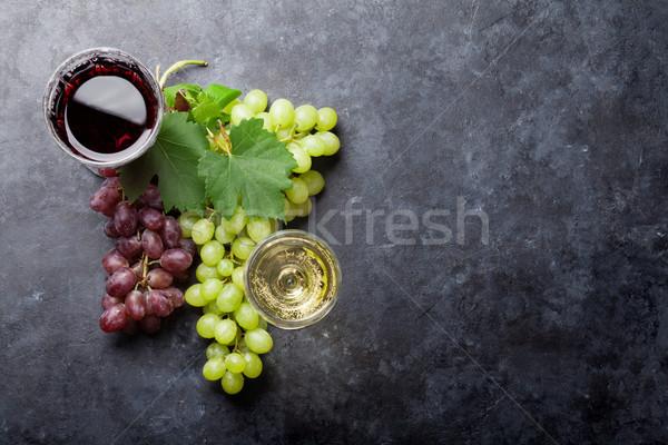 赤 白ワイン ブドウ 眼鏡 石 表 ストックフォト © karandaev