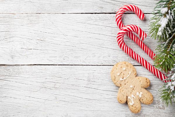 Noel ağacı şeker gingerbread man Noel kar Stok fotoğraf © karandaev