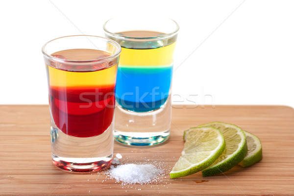 Shot cocktail collection: Red and Blue Tequila Stock photo © karandaev