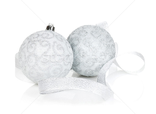 Stock photo: Silver christmas baubles with ribbon