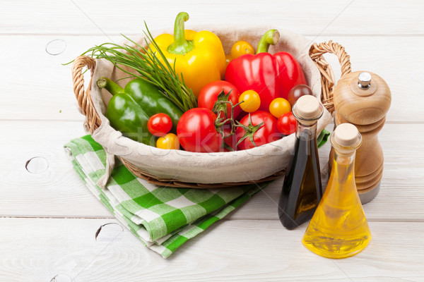 Stock photo: Fresh vegetables and condiments