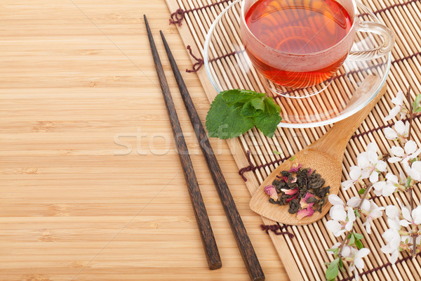Сток-фото: Японский · зеленый · чай · сакура · филиала · бамбук · таблице