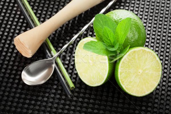 Mojito coquetel ingredientes utensílios preto borracha Foto stock © karandaev