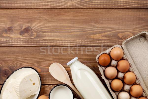 ミルク チーズ 卵 乳製品 木製のテーブル 先頭 ストックフォト © karandaev