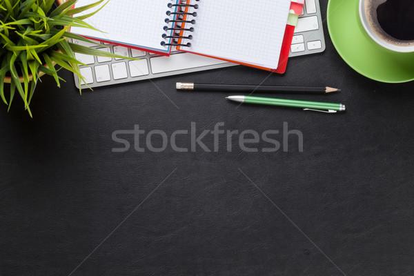 Asztal számítógép készlet kávé virág iroda Stock fotó © karandaev