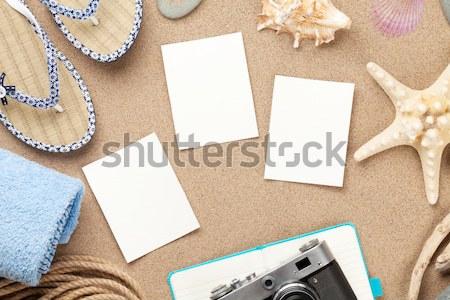 Stockfoto: Reizen · vakantie · foto · frames · houten · tafel · top