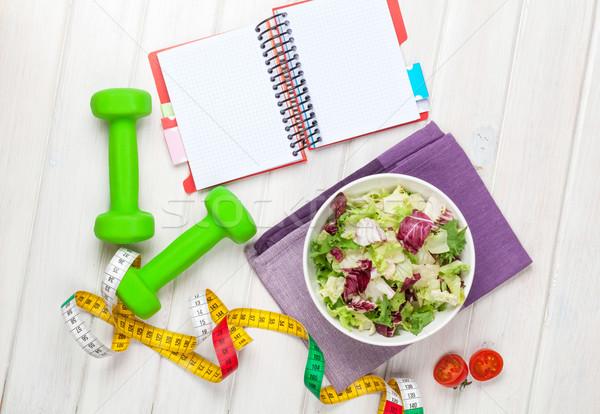 Fita métrica alimentação saudável bloco de notas cópia espaço fitness saúde Foto stock © karandaev