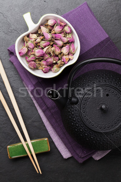 Asian steeg thee theepot steen tabel Stockfoto © karandaev