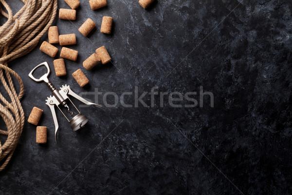 Bor dugóhúzó sötét kő felső kilátás Stock fotó © karandaev