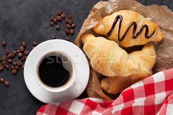 Vers eigengemaakt croissant chocolade koffie croissants Stockfoto © karandaev