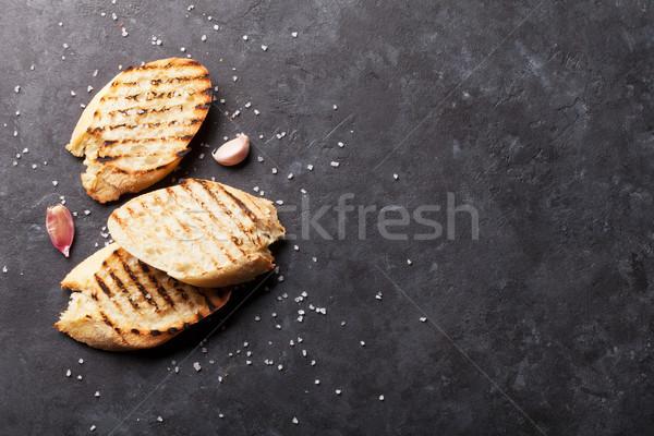 тоста хлеб соль чеснока каменные таблице Сток-фото © karandaev
