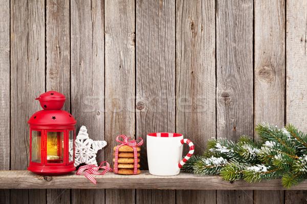 Navidad vela linterna alimentos decoración Foto stock © karandaev
