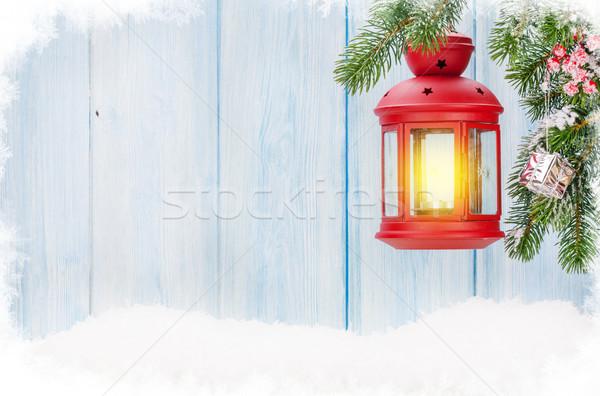 Noel mum fener şube kar Stok fotoğraf © karandaev