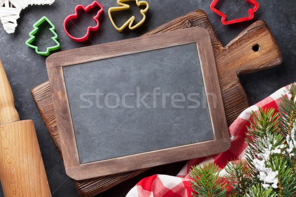 Christmas cooking utensils and snow tree Stock photo © karandaev