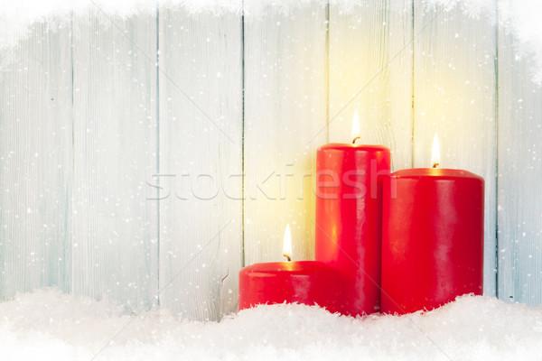 Christmas background with candles Stock photo © karandaev