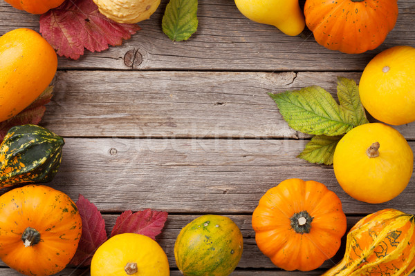 ősz tökök fa deszka asztal keret felső Stock fotó © karandaev
