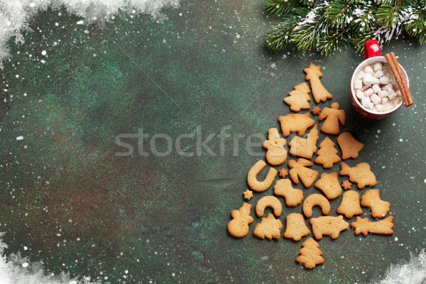 Natal chocolate quente pão de especiarias bolinhos topo Foto stock © karandaev