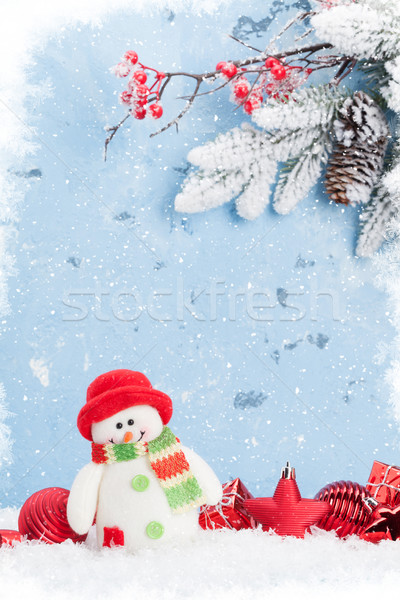 Noël bonhomme de neige neige vue espace de copie Photo stock © karandaev