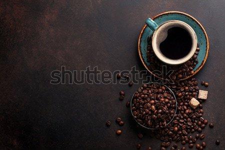 ストックフォト: コーヒーカップ · 豆 · 砂糖 · 石 · 先頭 · 表示