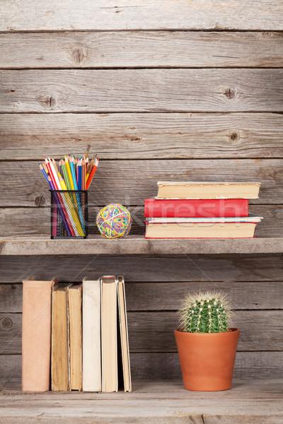 старые книгах шельфа карандашей кактус Сток-фото © karandaev