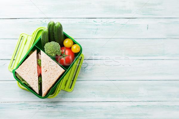 ストックフォト: ランチ · ボックス · 野菜 · サンドイッチ · 木製 · 先頭