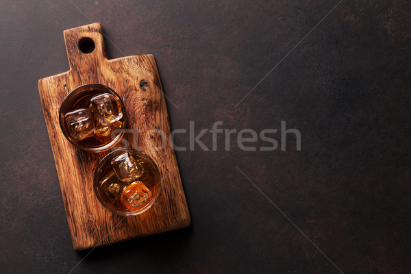 Whiskey with ice Stock photo © karandaev