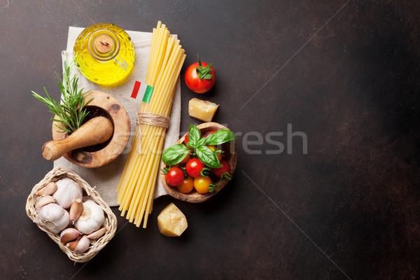 итальянской кухни пасты Ингредиенты каменные таблице Top Сток-фото © karandaev