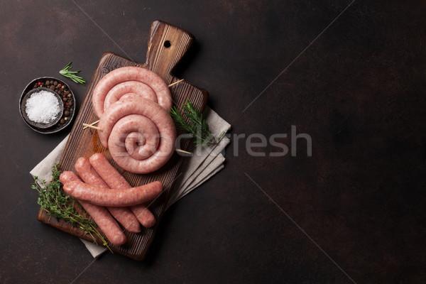 Greggio salsicce cottura legno tagliere top Foto d'archivio © karandaev