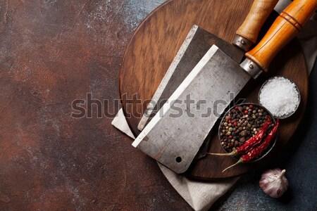 Stockfoto: Vintage · vlees · messen · specerijen · slager