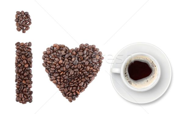 Foto stock: Amor · café · formas · granos · de · café · aislado · blanco