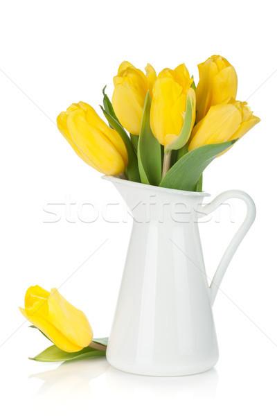 Citromsárga tulipánok kancsó izolált fehér húsvét Stock fotó © karandaev